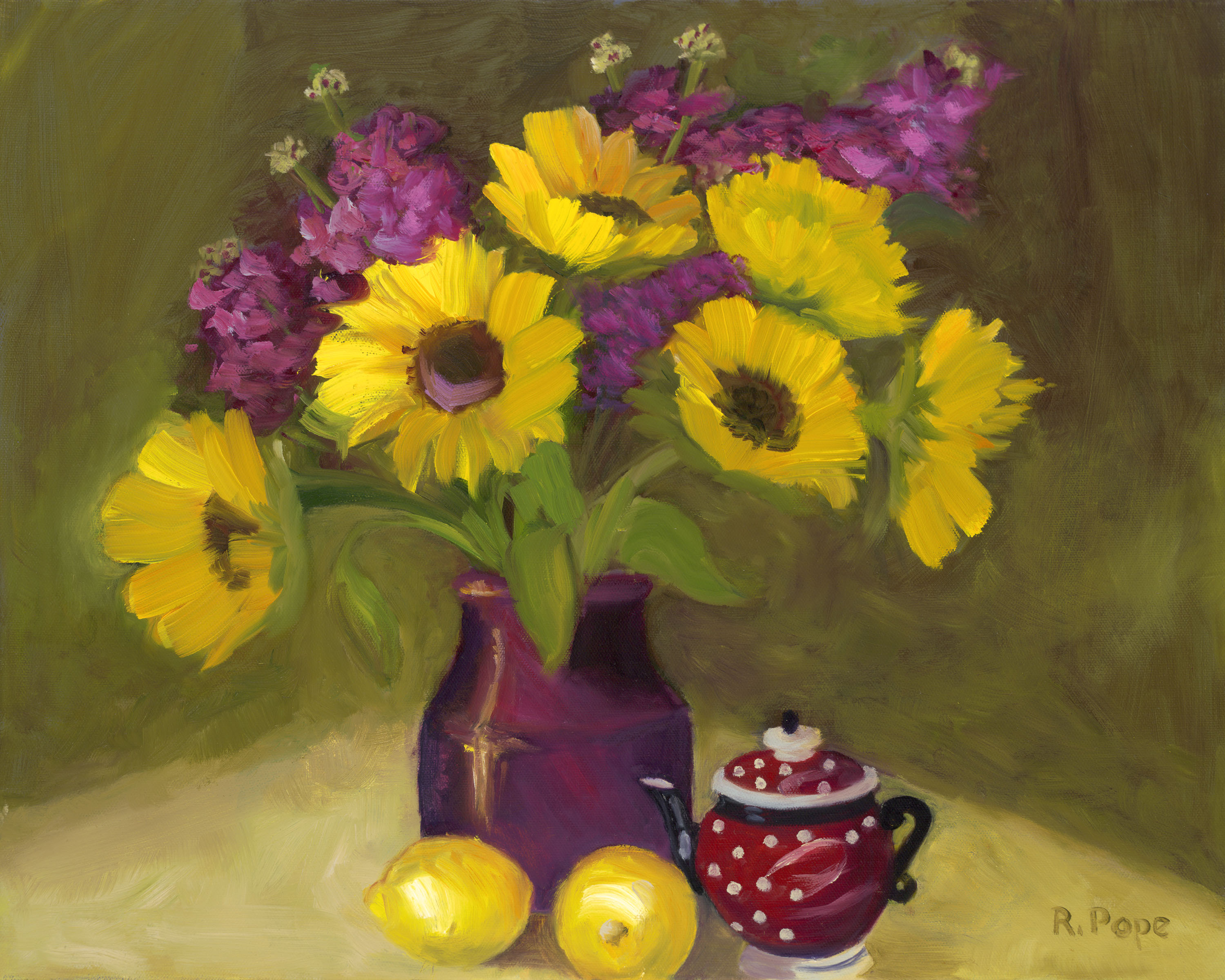 Sunflowers with Red Teapot /Giclee    $118