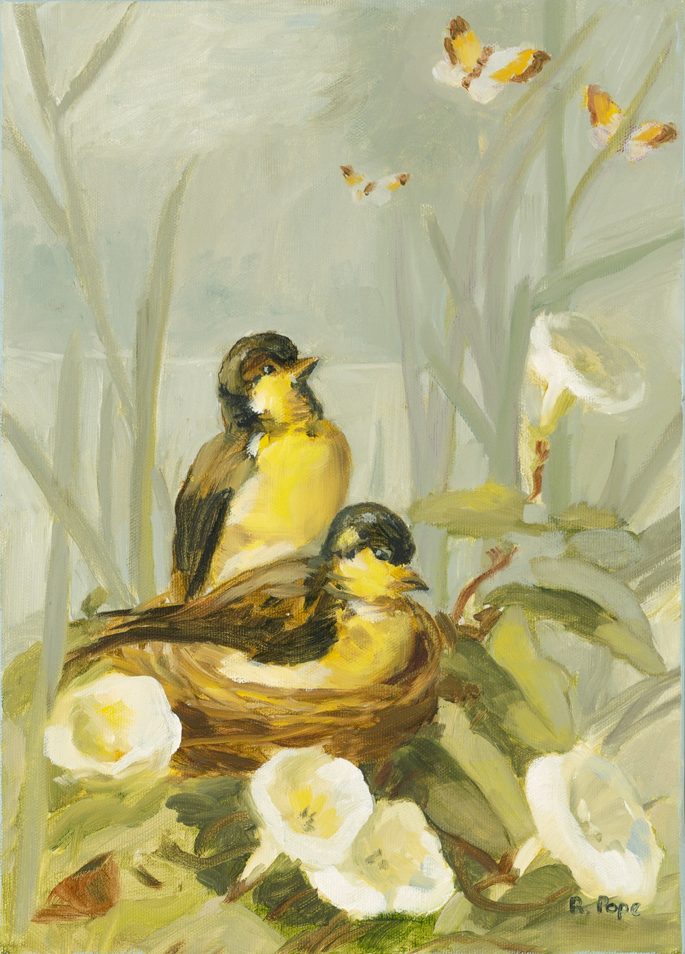 Two Birds Nesting/Oil Painting     $120