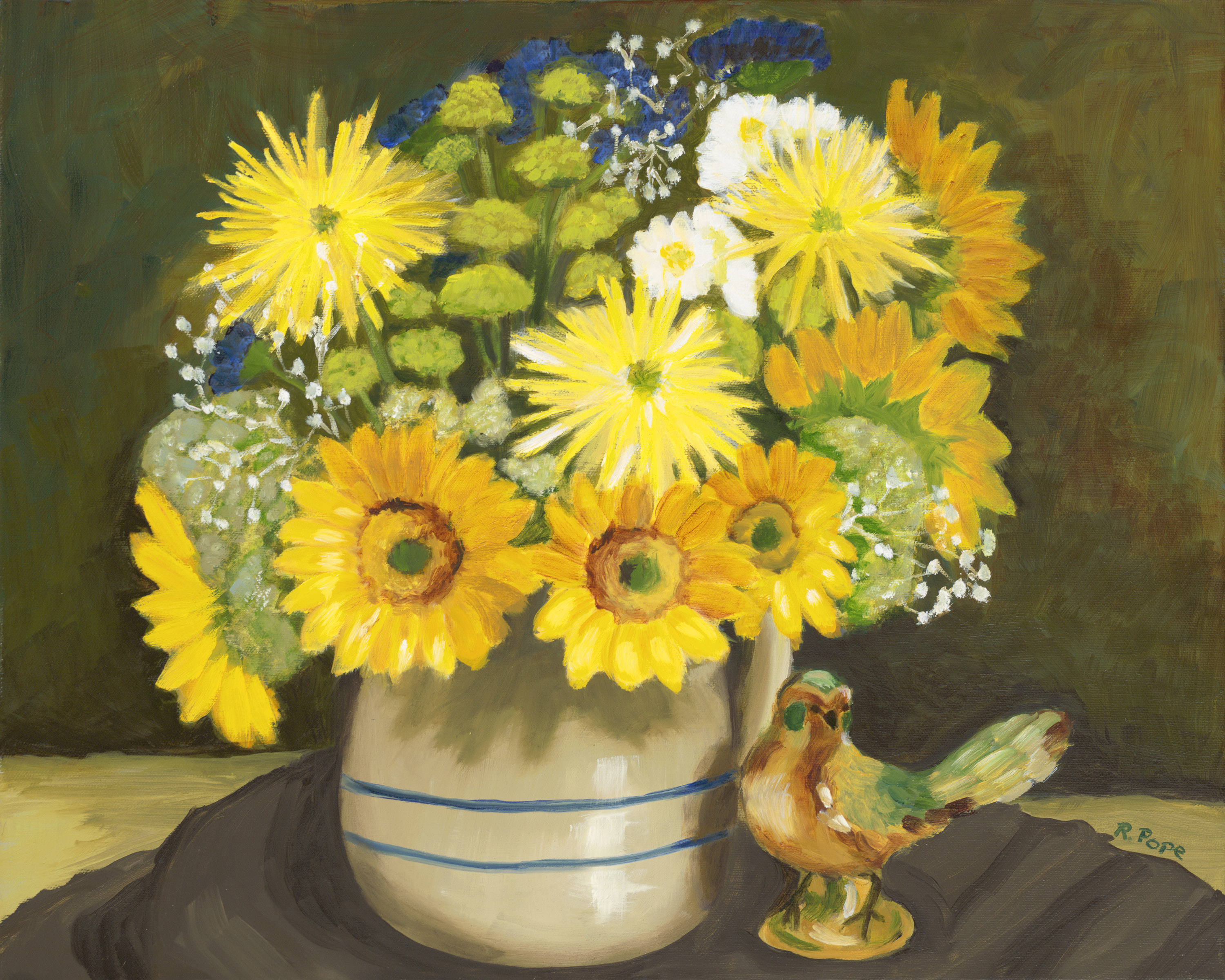 Sunflowers and Mums with Bird/Original Oil        $375