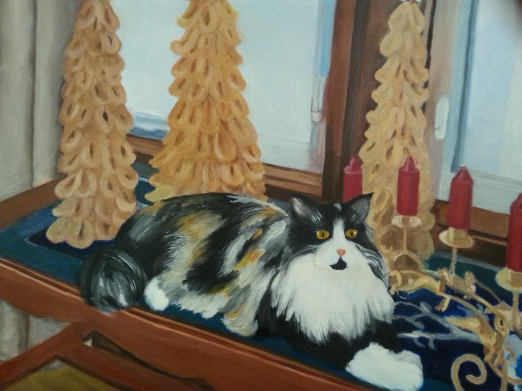 Christmas Kitty/Original Oil    $375
