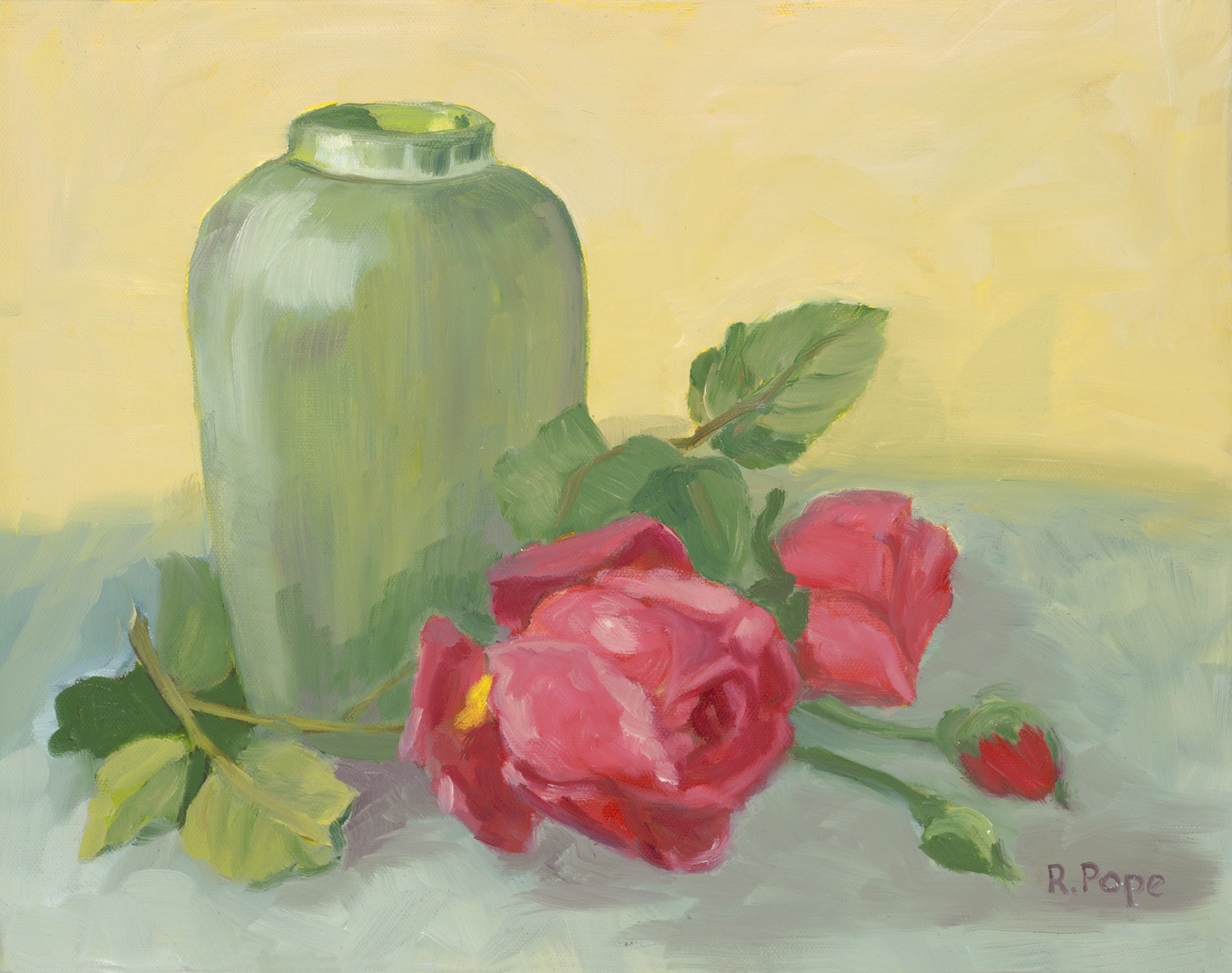 Green Vase and Pink Roses/ Giclee 11x14 $100