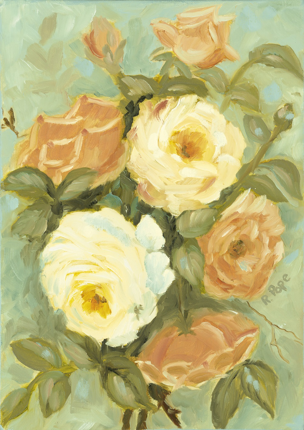White and Peach Roses/Giclee     $100