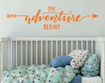 The Adventure Begins Arrow Wall Nursery Bedroom  Vinyl Glossy Laminate Wall Decal