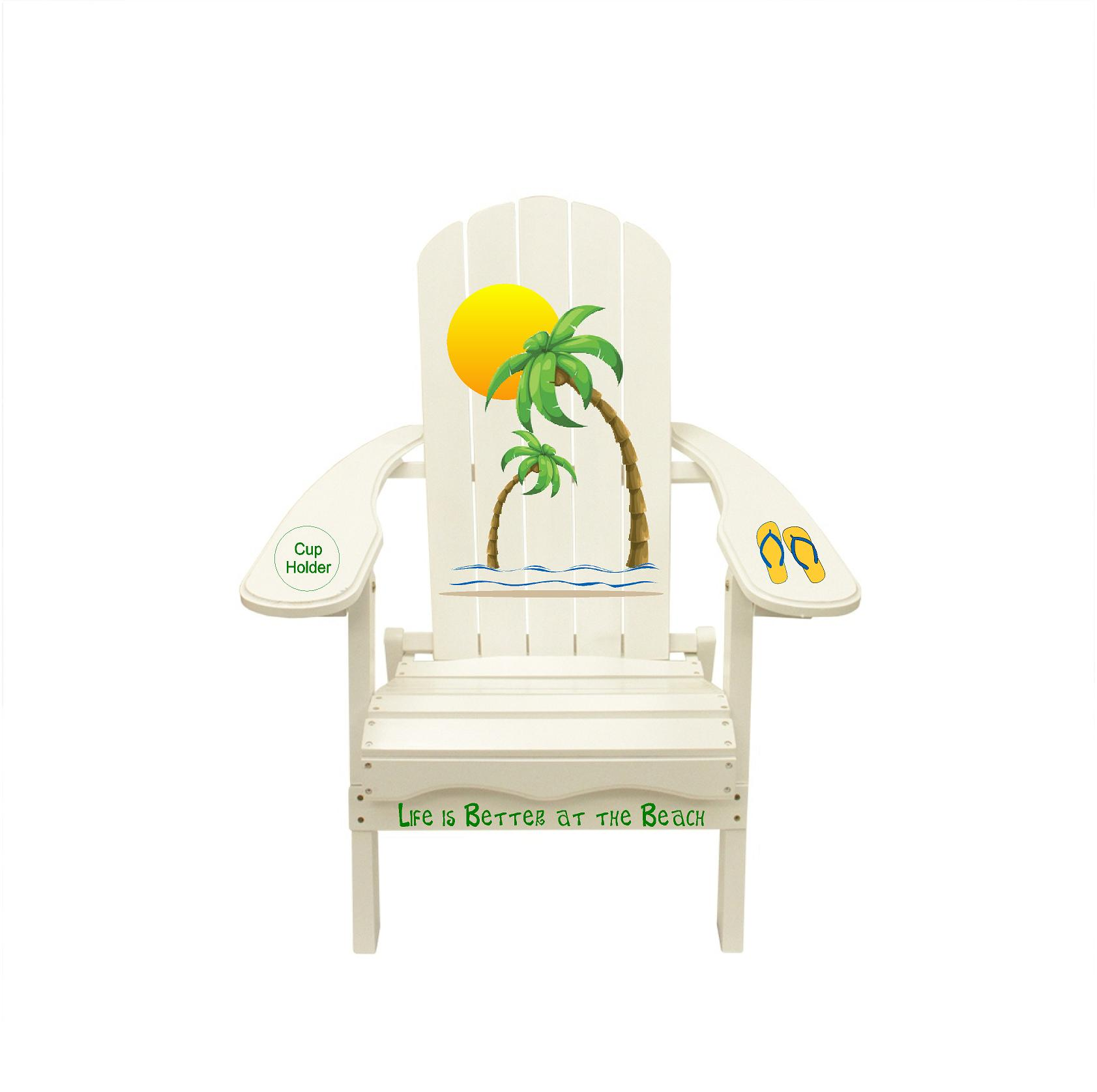 Palm Tree, Flip Flops, Life is Better at the Beach saying Outdoor Wooden Adirondack Lounge Chair