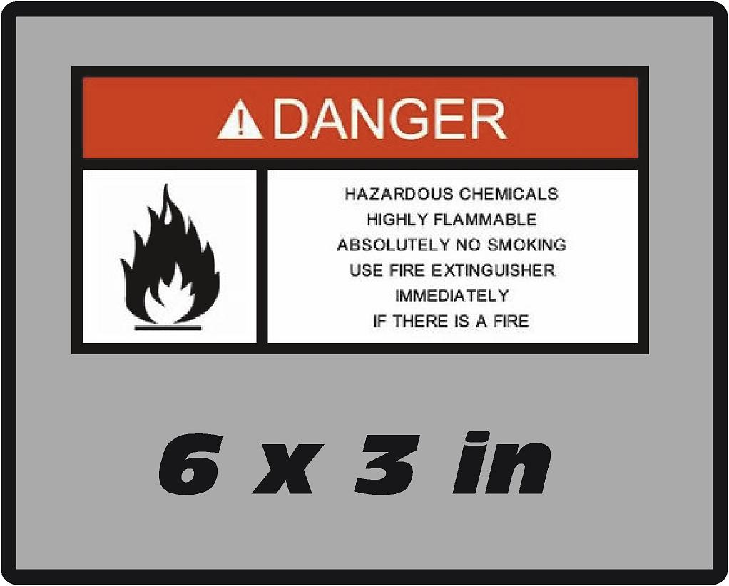 Danger Hazard Chemicals  Safety Vinyl Glossy Laminate Decal