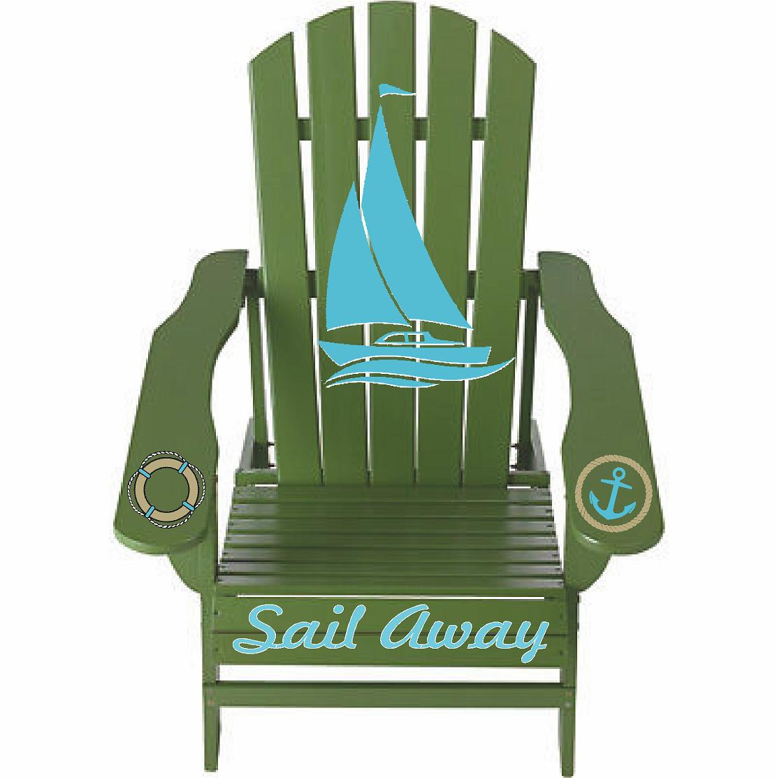 Sail Away Sage Green Outdoor Night Graphic Decal Adirondack Lounge Chair