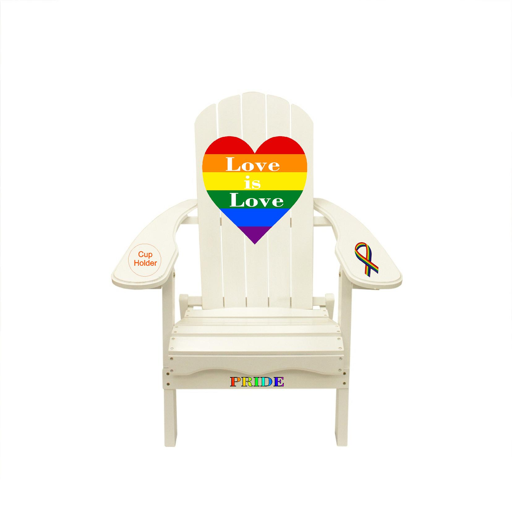 Gay Pride Month Colors Love is Love Outdoor Wood Adirondack Lounge Chair