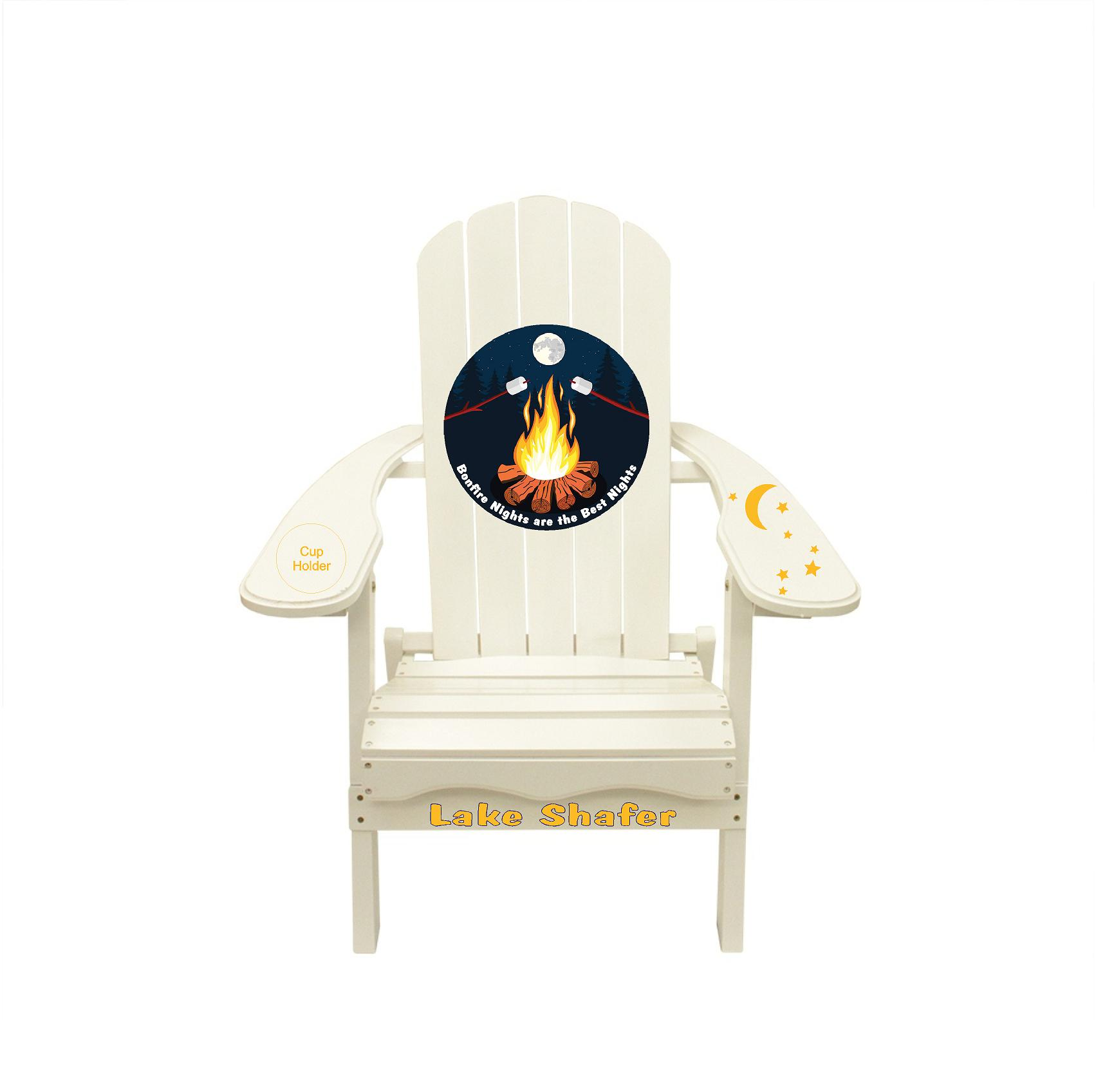 Bonfire Firepit Outdoor Night Graphic Decal Adirondack Lounge Chair