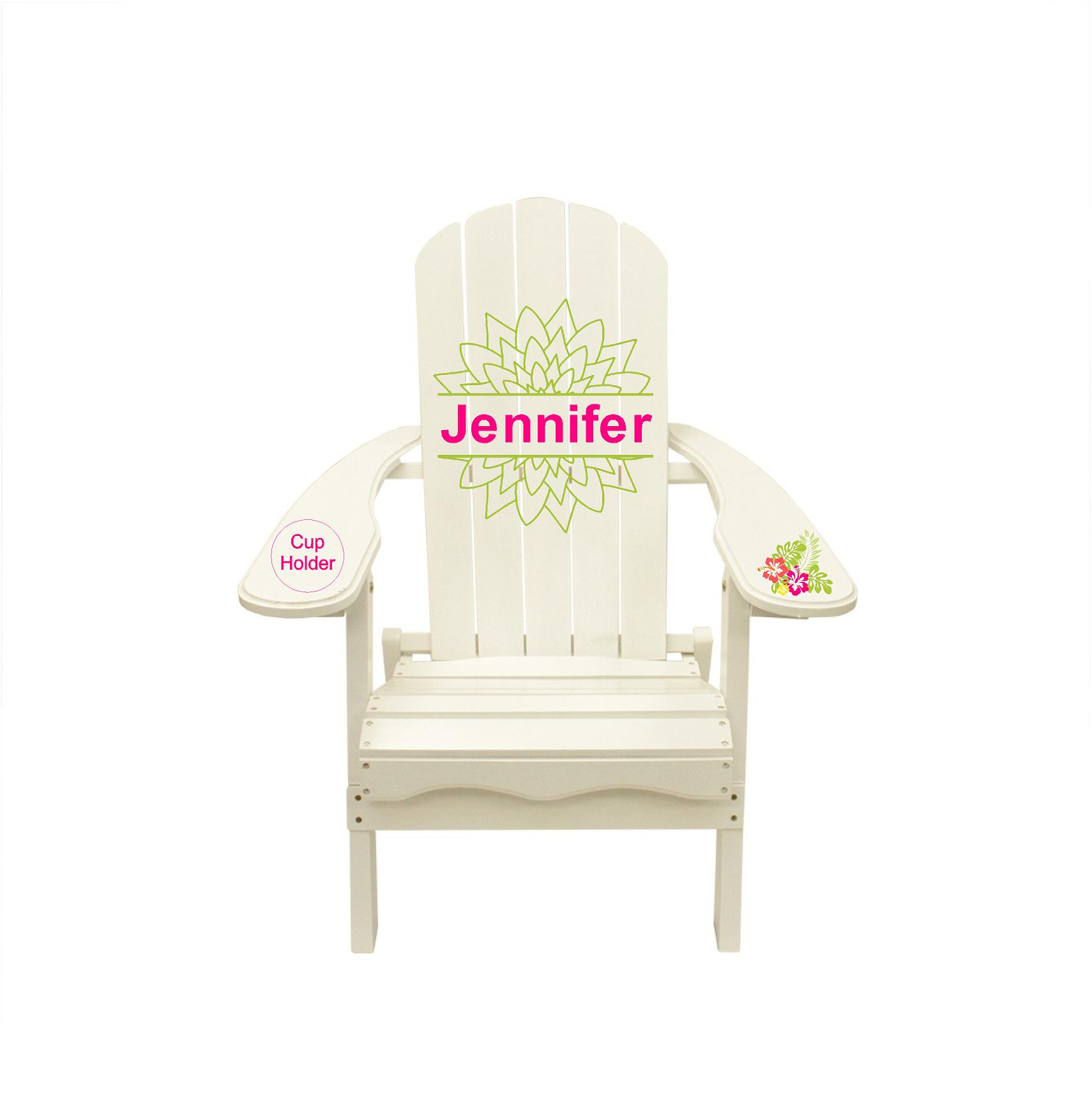Jennifer Name Mock Up Graphic Decal Adirondack Lounge Chair