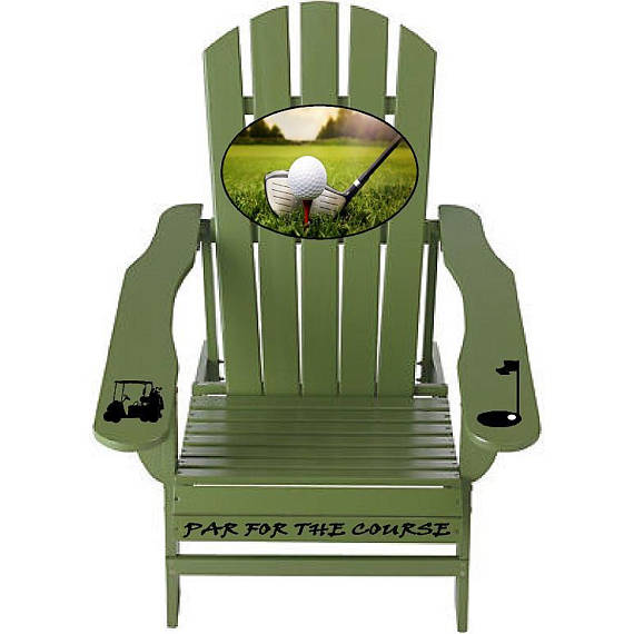 Golfing Par for the Course Sage Green Outdoor Graphic Decal Adirondack Lounge Chair