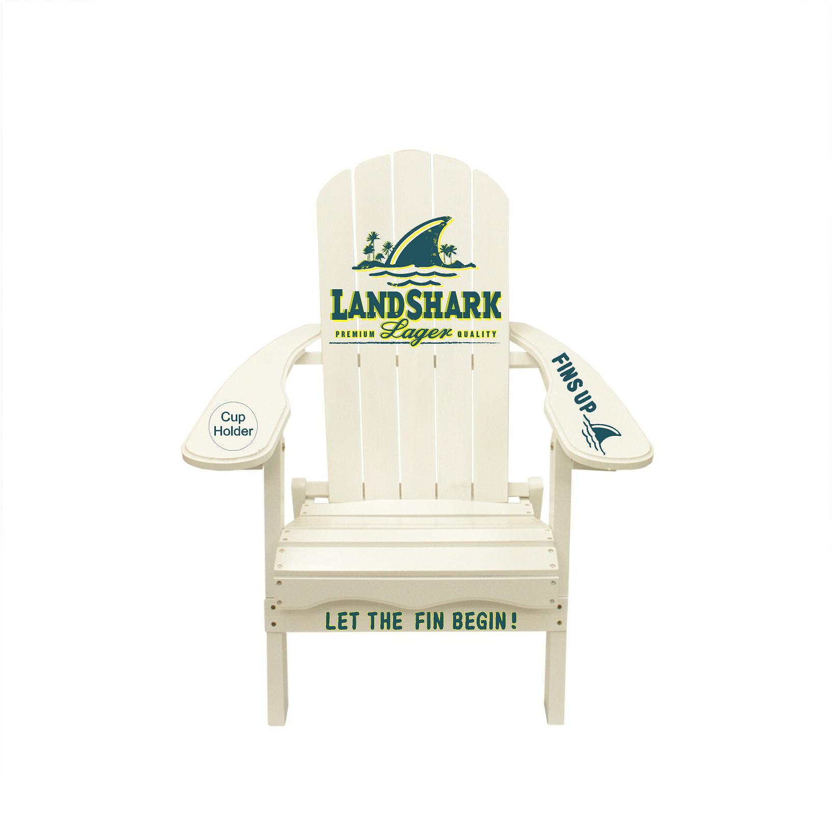 Landshark, (This is a customer request) Fins Up, Let the Fin Begin saying Outdoor Wooden Adirondack Lounge Chair