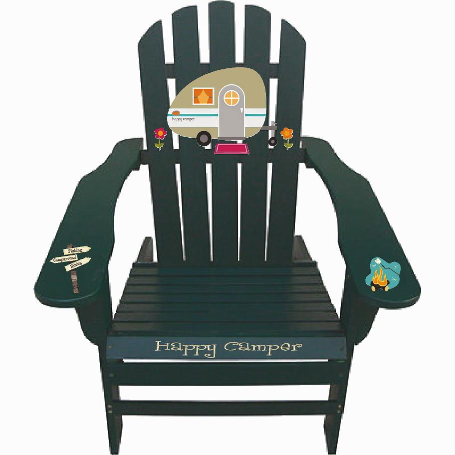 Happy Camper Painted Hunter Green Outdoor Night Graphic Decal Adirondack Lounge Chair