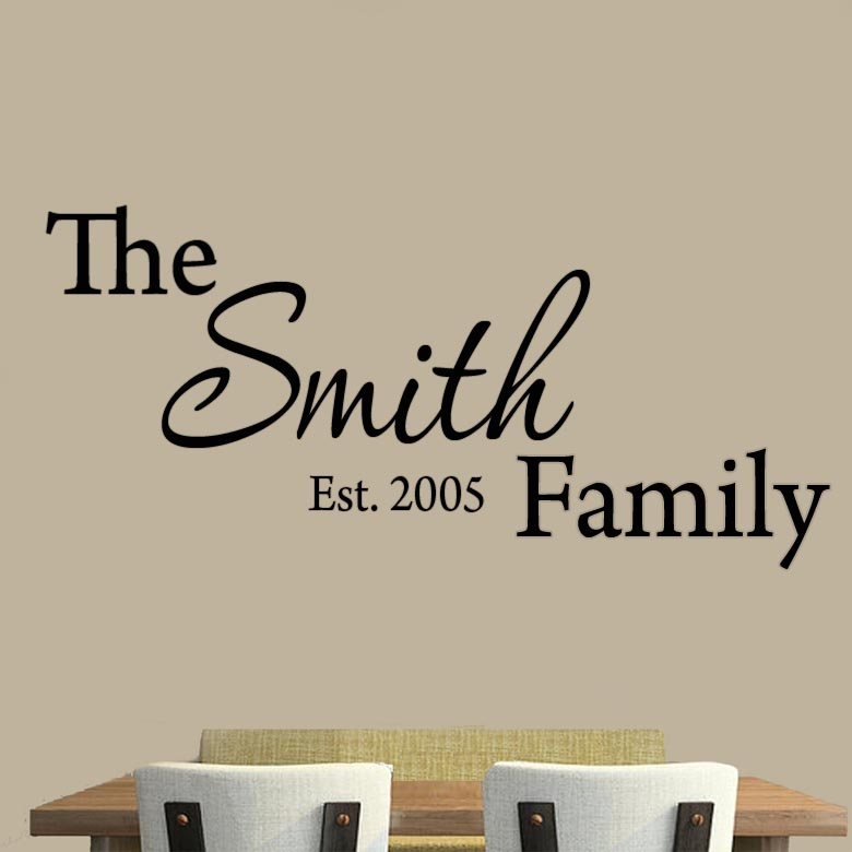 Smith Family Est. 2005 Create Your Own Vinyl Glossy Laminate Wall Decal