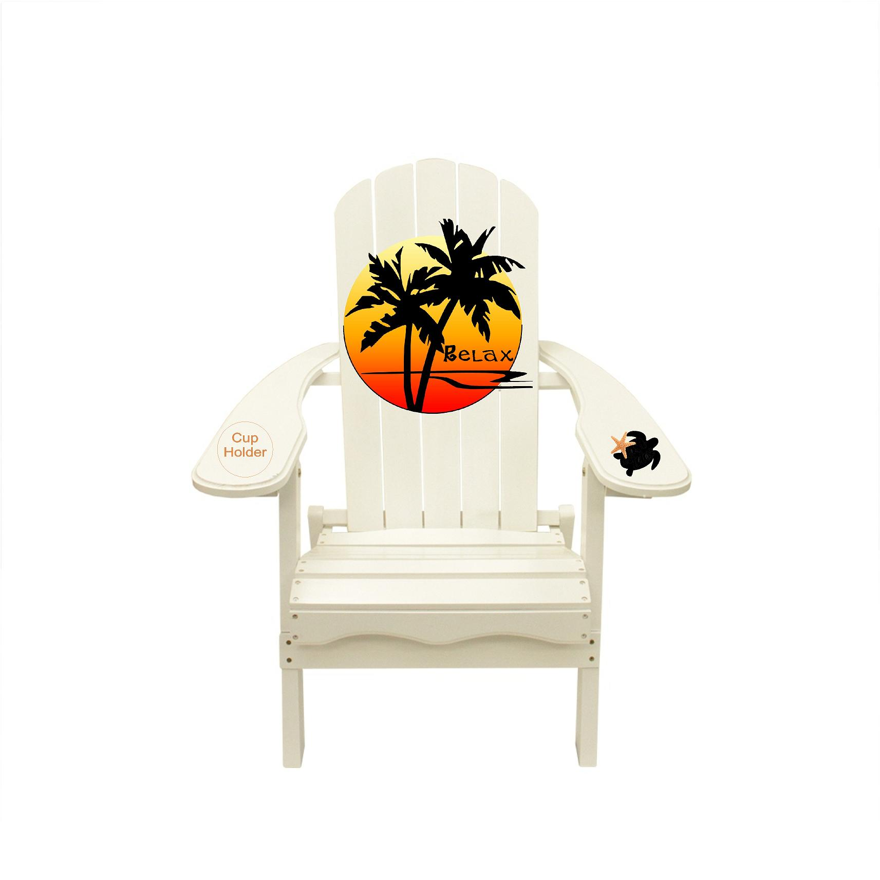 Palm Tree Sunset Relax Outdoor Wood Adirondack Lounge Beach Chair