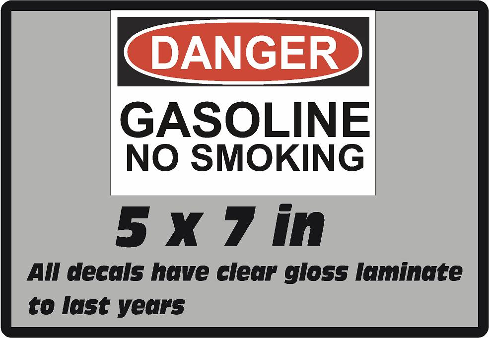 Danger Gasoline  Safety Vinyl Glossy Laminate Decal