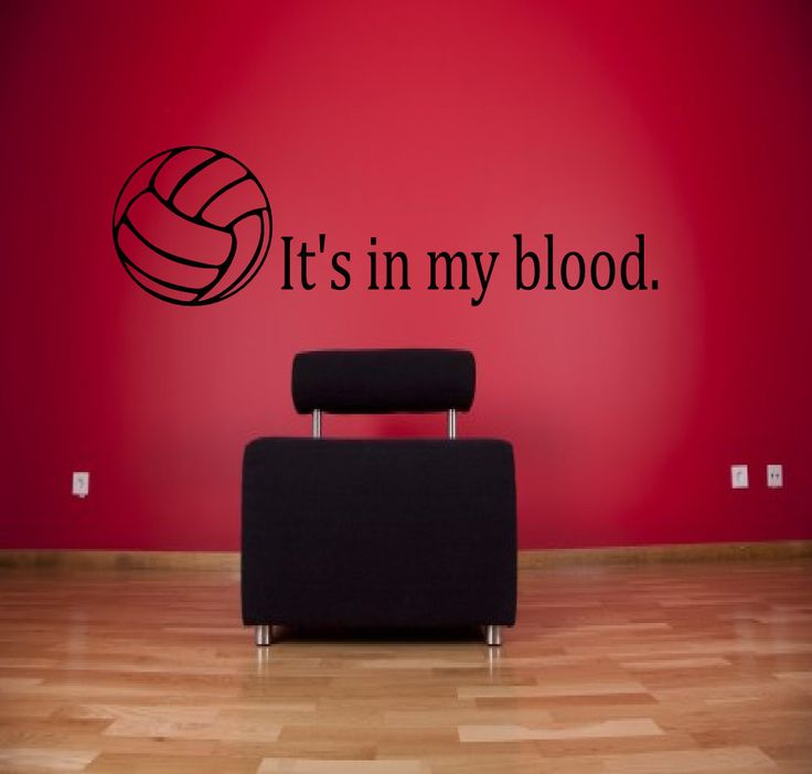 Volleyball Its in my Blood Sports Bedroom Vinyl Glossy Laminate Wall Decal