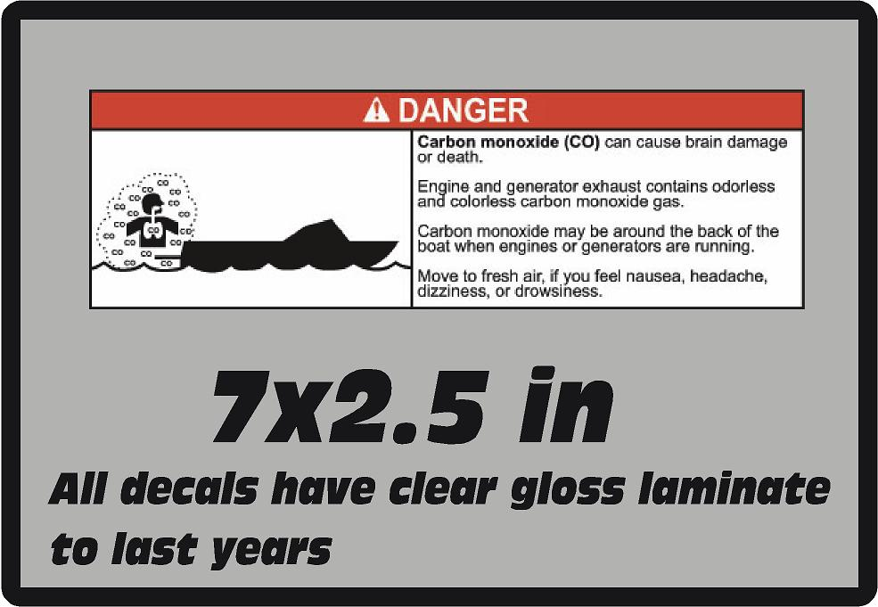 Danger Boat Carbon Monoxide Warning Boating Safety Vinyl Glossy Laminate Decal
