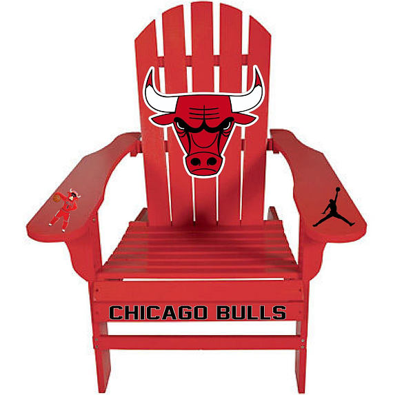 Custom Red Chicago Bulls (This was a customer request) Basketball Outdoor Graphic Decal Adirondack Lounge Chair