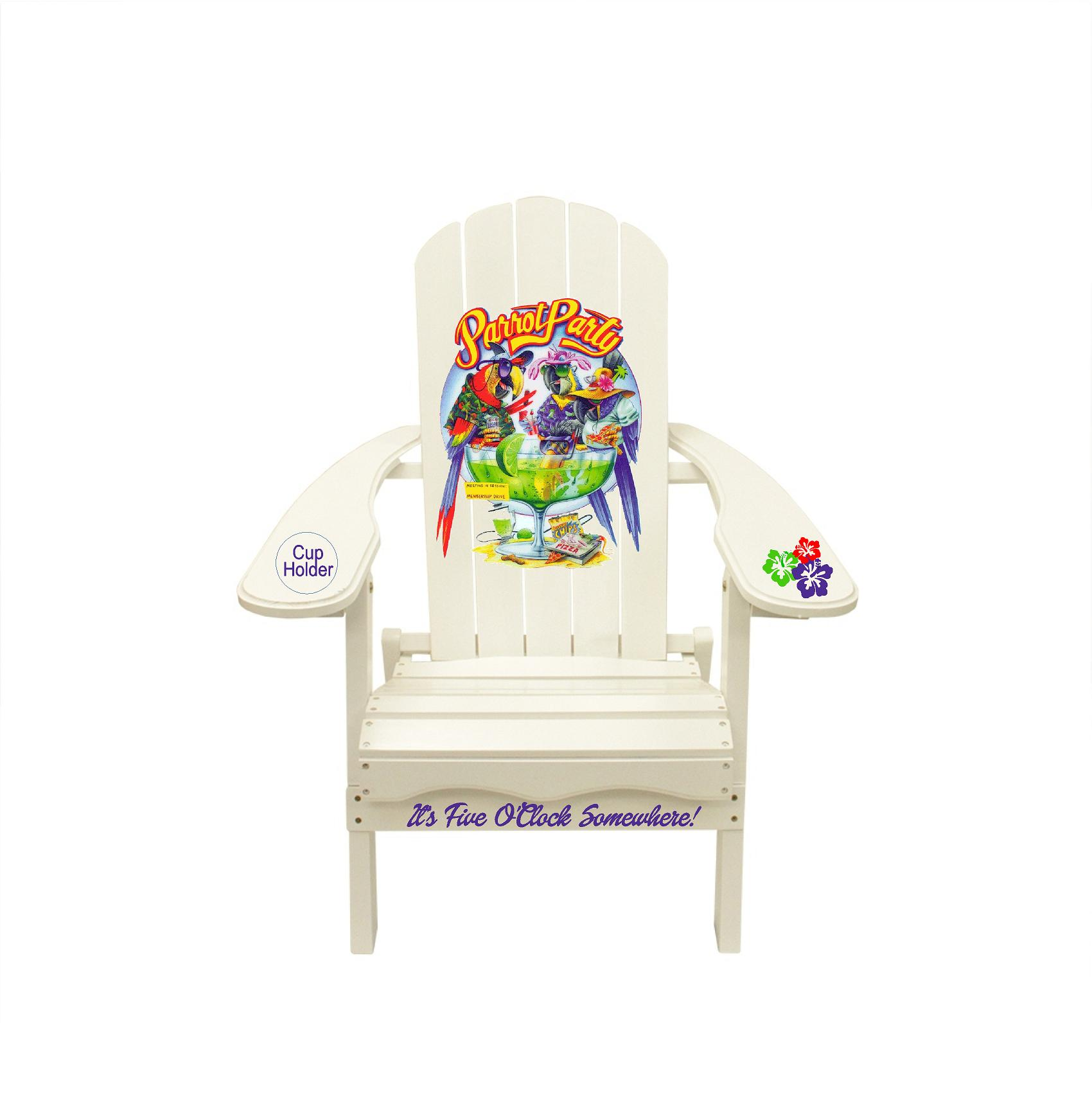 It's 5 O'clock Somewhere Parrot Party Custom Outdoor Wood Adirondack Lounge Chair