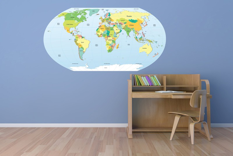 Political World Map Vinyl Glossy Laminate Wall Decal