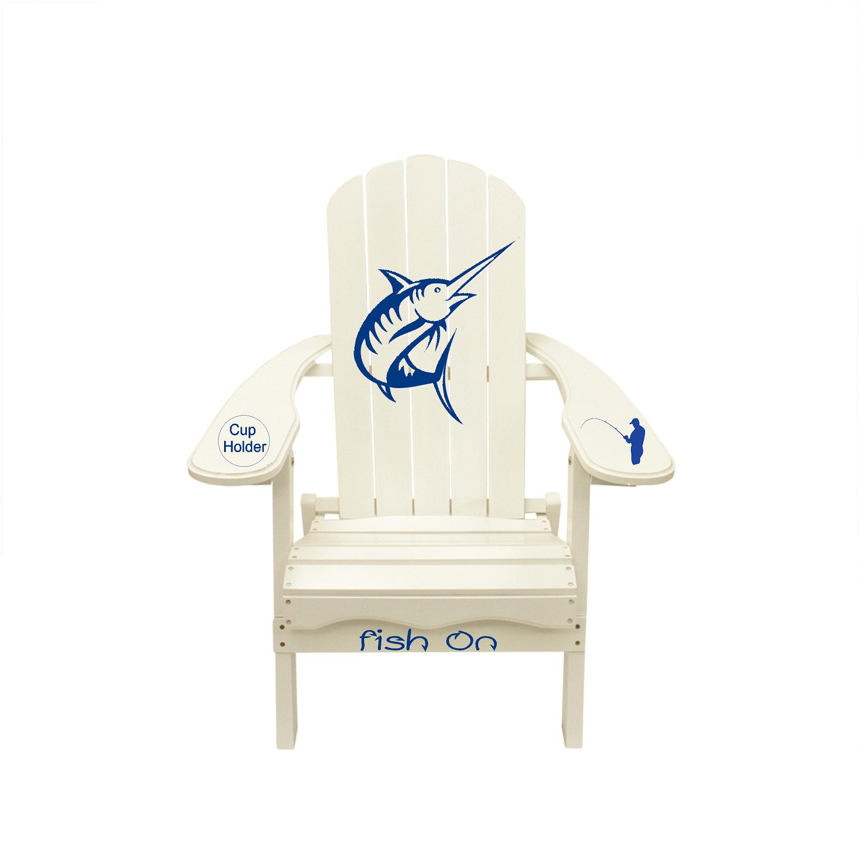 "Marlin Fishing with Quote ""Fish On"" Wooden Adirondack Lounge Chair"