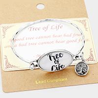 """Silver Burnished """"Tree of Life"""" Metal Charm  Hook Bracelet"""