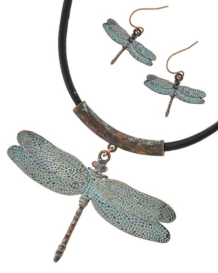 OUT OF STOCK- Patina  Dragonfly Pendant Necklace &Earrings