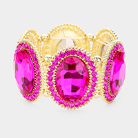 Fuchsia, Gold Marquise Oval Crystal Evening Stretch Bracelet