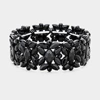 Gold &Vitrail Pave oval trim glass crystal stretch bracelet