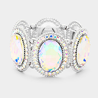 AB & Silver Marquise Oval Crystal Evening Stretch Bracelet