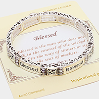 "Silver ""Blessed"" Message Stretch Bracelet"