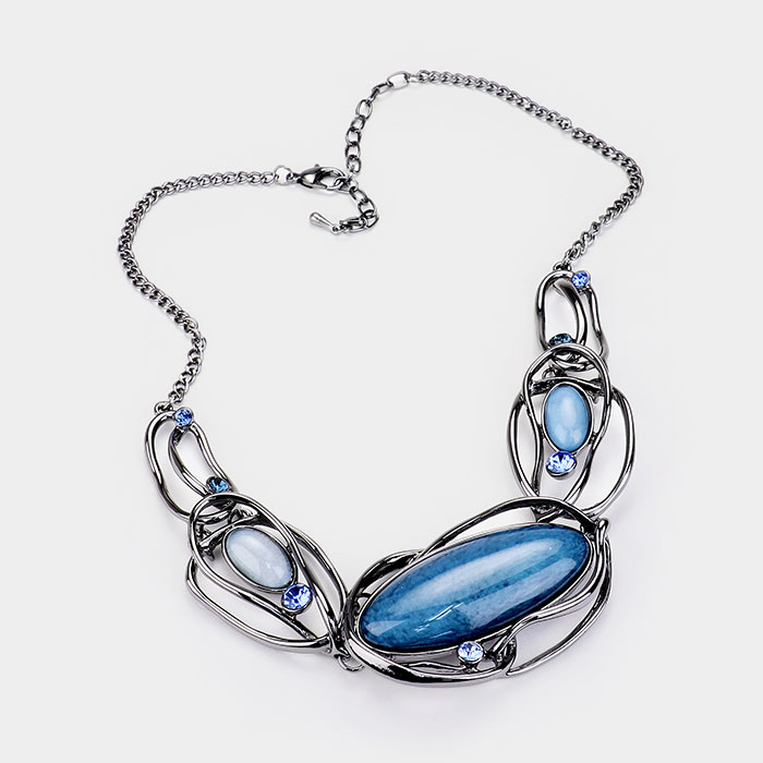 Hematite & Blue Necklace & Earring Set