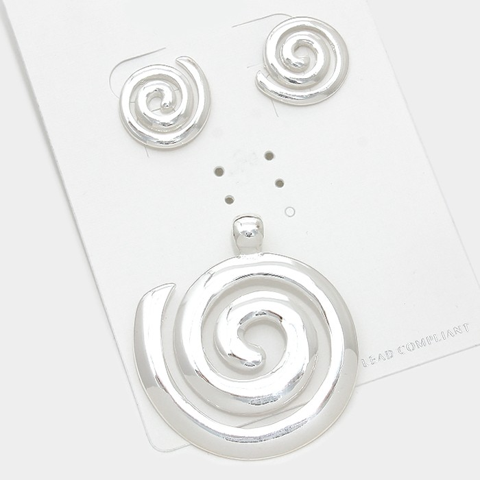 Silver Magnetic Pendant Swirl Set