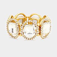Gold, Clear Pave oval trim glass crystal stretch bracelet