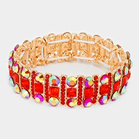 OUT OF STOCK-Gold & Red Square Crystal Rhinestone & Bubble Cluster Stretch
