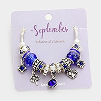 September _ Multi-birthstone month heart charm bracelet