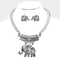Ebossed Abalone, Silver Elephant Pendant Necklace