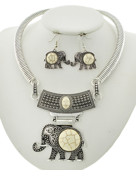Antique Silver & Ivory Stone Necklace & Earring Set