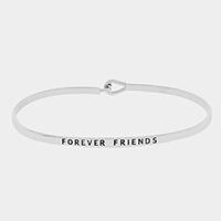 "Rhodium ""Forever friends"" Thin Metal Hook Bracelet"