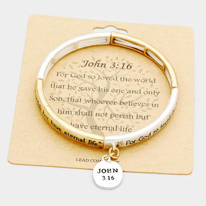 """John 3:16"" Metal Disc Charm Stretch Bracelet"