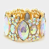 Crystal rhinestone marquise bubbleevening bracelet