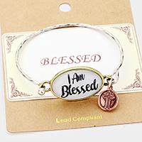 """""""I Am Blessed"""" Cross Charm Hook Bracelet"""