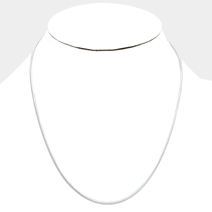 "18"" Thin  Silvermetal round omega necklace"
