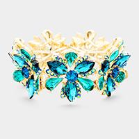 Blue Zircon, Gold Marquise Floral Crystal Stretch Evening Bracelet