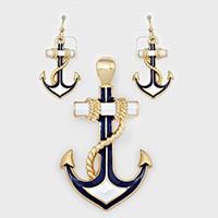White, Gold, Navy Anchor Pendant Set