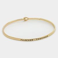 """Gold """"Forever together"""" Thin Metal Hook Bracelet"""