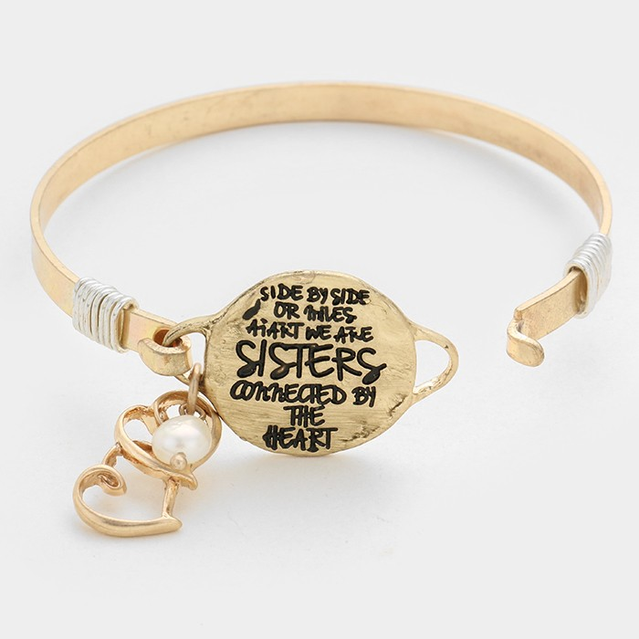 "OUT OF STOCK-Matte gold ""We are sisters connected by the heart"" double heart charm hook bracelet"