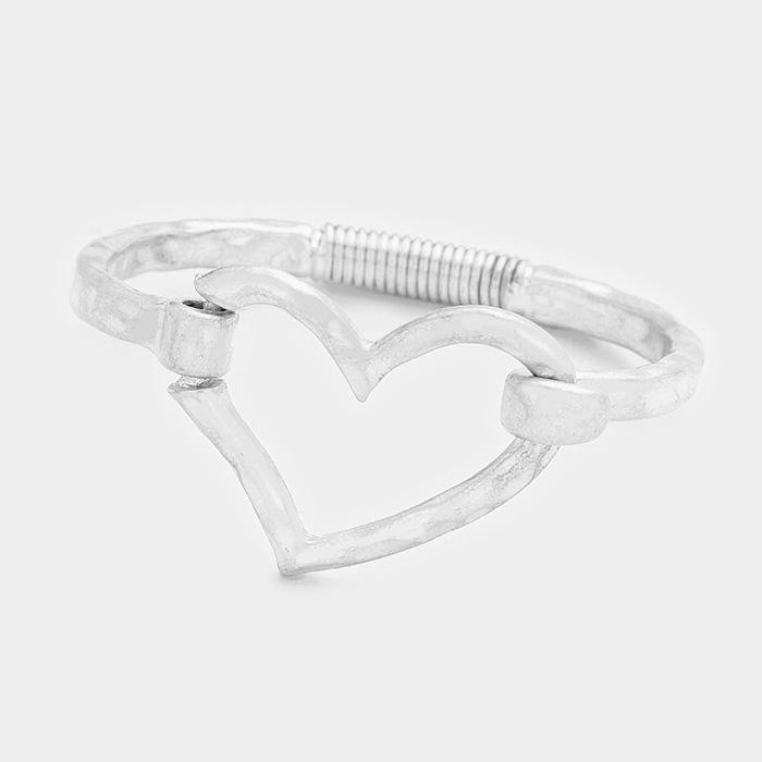 Worn Silver Metal Heart Hook Bracelet