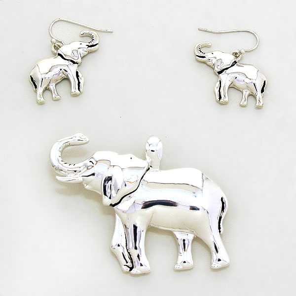 "OUT OF STOCK-Silver Plated ""Elephant"" Pendant Set"