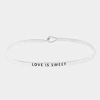 """Love is sweet"" thin metal hook bracelet"